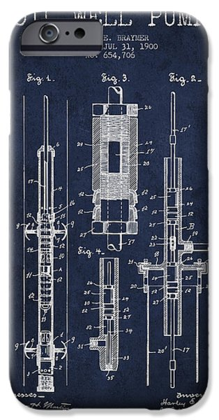 Industry Digital Art iPhone Cases - Oil Well Pump Patent From 1900 - Navy Blue iPhone Case by Aged Pixel
