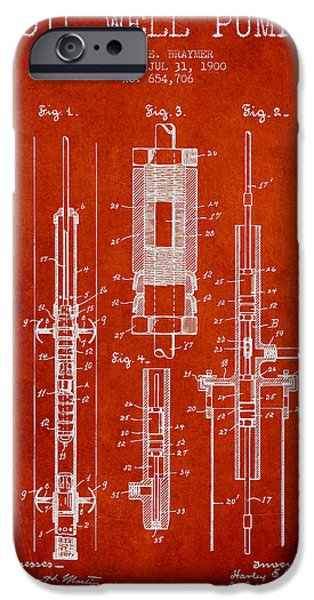 Industry Digital Art iPhone Cases - Oil Well Pump Patent From 1900 - Red iPhone Case by Aged Pixel