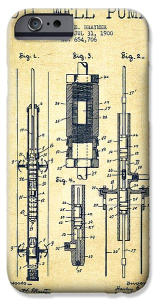 Well iPhone Cases - Oil Well Pump Patent From 1900 - Vintage iPhone Case by Aged Pixel