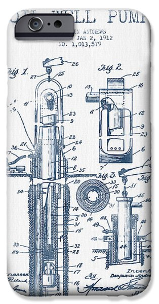 Industry iPhone Cases - Oil Well Pump Patent From 1912  -  Blue Ink iPhone Case by Aged Pixel
