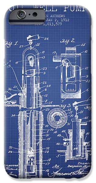 Industry iPhone Cases - Oil Well Pump Patent From 1912 - Blueprint iPhone Case by Aged Pixel