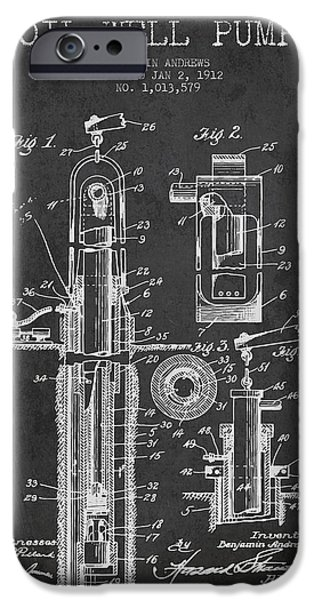 Well iPhone Cases - Oil Well Pump Patent From 1912 - Dark iPhone Case by Aged Pixel