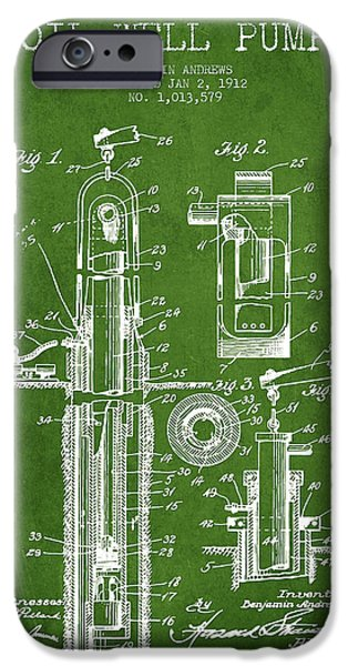 Well iPhone Cases - Oil Well Pump Patent From 1912 - Green iPhone Case by Aged Pixel
