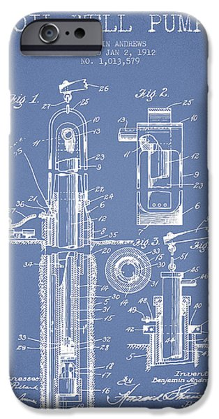 Industry iPhone Cases - Oil Well Pump Patent From 1912 - Light Blue iPhone Case by Aged Pixel