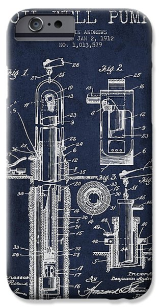 Industry iPhone Cases - Oil Well Pump Patent From 1912 - Navy Blue iPhone Case by Aged Pixel