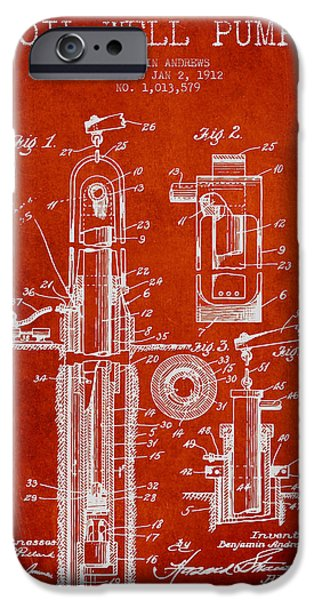 Industry iPhone Cases - Oil Well Pump Patent From 1912 - Red iPhone Case by Aged Pixel