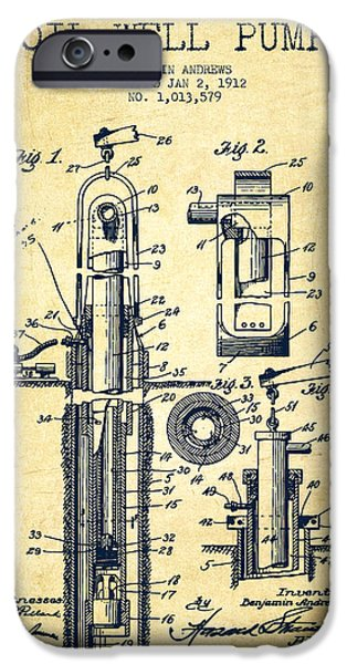 Industry iPhone Cases - Oil Well Pump Patent From 1912 - Vintage iPhone Case by Aged Pixel