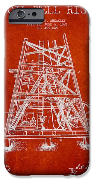 Industry Digital Art iPhone Cases - Oil Well Rig Patent from 1893 - Red iPhone Case by Aged Pixel