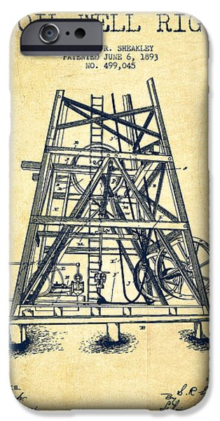 Industry iPhone Cases - Oil Well Rig Patent from 1893 - Vintage iPhone Case by Aged Pixel