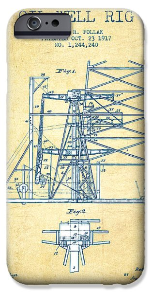 Industry iPhone Cases - Oil Well Rig Patent from 1917- Vintage Paper iPhone Case by Aged Pixel