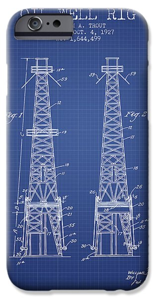 Industry iPhone Cases - Oil Well Rig Patent from 1927 - Blueprint iPhone Case by Aged Pixel
