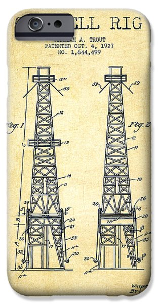 Industry Digital Art iPhone Cases - Oil Well Rig Patent from 1927 - Vintage iPhone Case by Aged Pixel