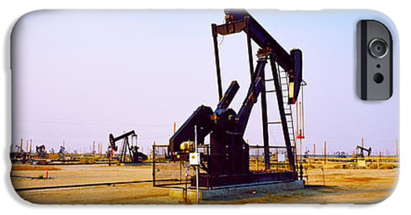 Industry iPhone Cases - Oil Wells In Oil Field, California iPhone Case by Panoramic Images