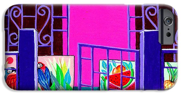 Watermelon Drawings iPhone Cases - Oils on Canvas in the House Yard of an Exotic Artist iPhone Case by BluedarkArt Lem
