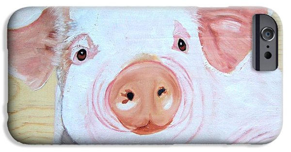 Piglets Paintings iPhone Cases - Oink iPhone Case by Debbie LaFrance