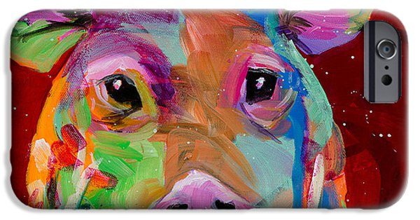 Piglets Paintings iPhone Cases - Oink iPhone Case by Tracy Miller