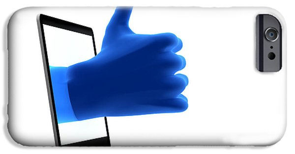 Multimedia iPhone Cases - Okay gesture Blue hand from screen iPhone Case by Michal Bednarek