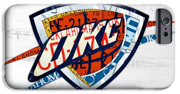 Basketball Team iPhone Cases - OKC Thunder Basketball Team Retro Logo Vintage Recycled Oklahoma License Plate Art iPhone Case by Design Turnpike