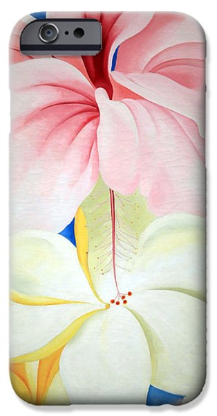 Best Sellers -  - Painter Photographs iPhone Cases - OKeeffes Hibiscus With Plumeria iPhone Case by Cora Wandel