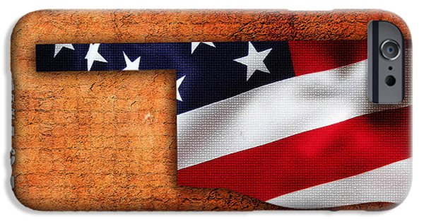 Usa Map iPhone Cases - Oklahoma American Flag State Map iPhone Case by Marvin Blaine