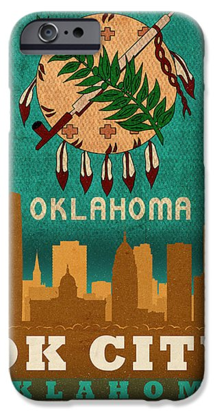 Oklahoma iPhone Cases - Oklahoma City Skyline Flag of Oklahoma Art Poster Series 002 iPhone Case by Design Turnpike
