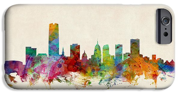 United States iPhone Cases - Oklahoma City Skyline iPhone Case by Michael Tompsett