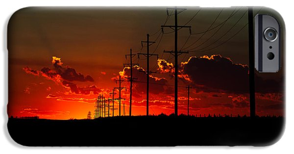 Power Pyrography iPhone Cases - Oklahoma Panhandle Sunset iPhone Case by Glenn Fillmore