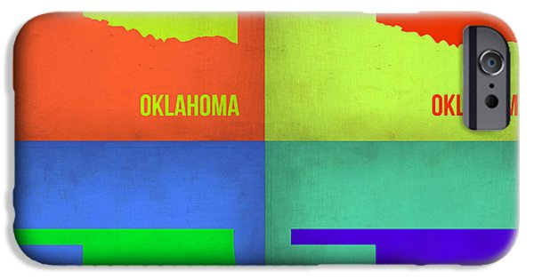 Home iPhone Cases - Oklahoma Pop Art Map 1 iPhone Case by Naxart Studio