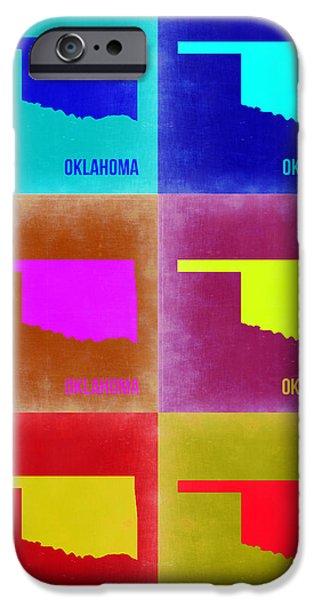 Oklahoma iPhone Cases - Oklahoma Pop Art Map 2 iPhone Case by Naxart Studio