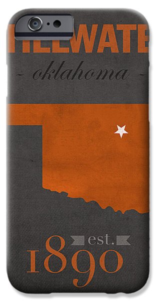 Oklahoma iPhone Cases - Oklahoma State University Cowboys Stillwater College Town State Map Poster Series No 084 iPhone Case by Design Turnpike