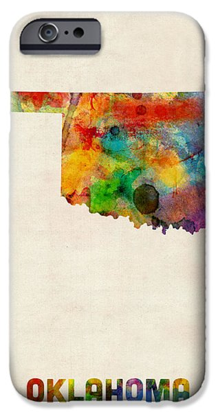 Geography iPhone Cases - Oklahoma Watercolor Map iPhone Case by Michael Tompsett