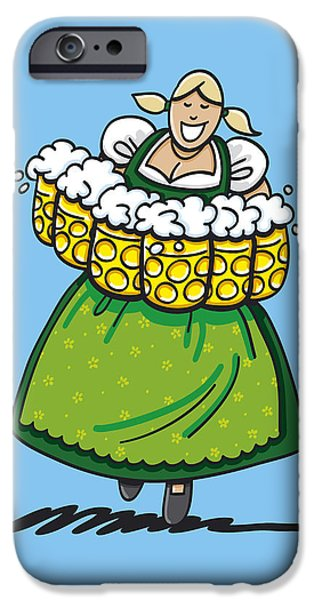 Oktoberfest iPhone Cases - Oktoberfest Beer Waitress Dirndl iPhone Case by Frank Ramspott
