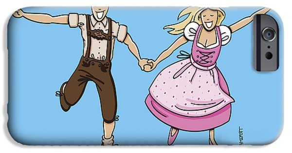 Cartoon iPhone Cases - Oktoberfest Couple Dancing Together iPhone Case by Frank Ramspott