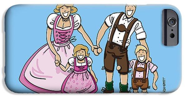 Man iPhone Cases - Oktoberfest Family Dirndl And Lederhosen iPhone Case by Frank Ramspott