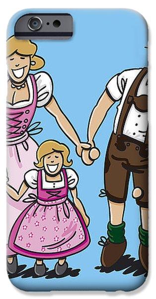 Oktoberfest Family Dirndl And Lederhosen iPhone Case by Frank Ramspott