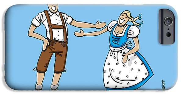 Woman iPhone Cases - Oktoberfest Lovers Happy About Each Other iPhone Case by Frank Ramspott