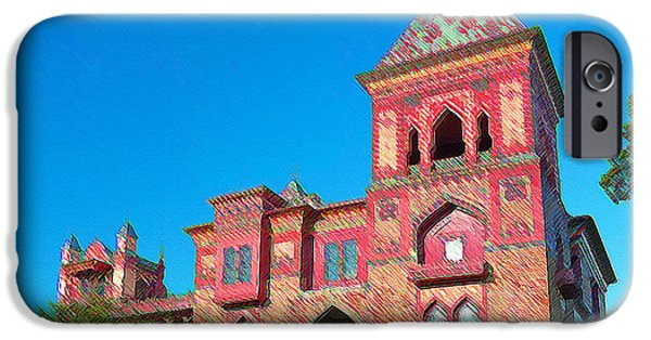 Church Pillars Paintings iPhone Cases - Olana 13 iPhone Case by Lanjee Chee