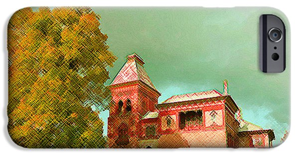 Church Pillars Paintings iPhone Cases - Olana 14 iPhone Case by Lanjee Chee