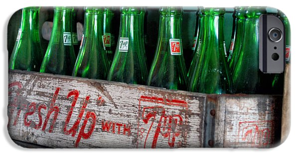 Central Il iPhone Cases - Old 7 Up Bottles iPhone Case by Thomas Woolworth