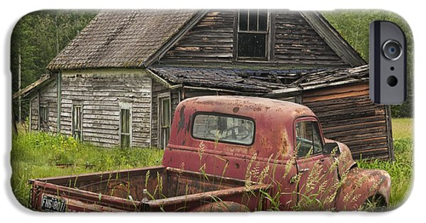 Composite iPhone Cases - Old Abandoned Homestead and Truck iPhone Case by Randall Nyhof