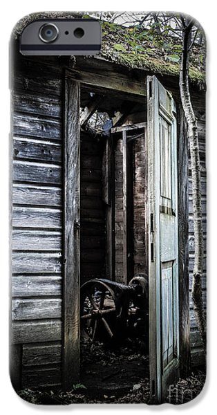 Shed iPhone Cases - Old abandoned well house with door ajar iPhone Case by Edward Fielding