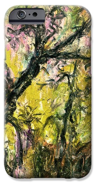 Nature Abstracts Pastels iPhone Cases - Old Acacia iPhone Case by Yuri Lushnichenko