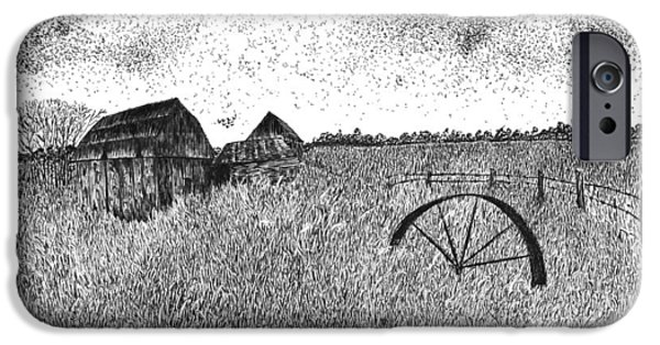 Old Barn Drawing iPhone Cases - Old and Forgotten iPhone Case by Rahul Jain