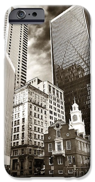 Old And New iPhone Cases - Old and New in Boston iPhone Case by John Rizzuto