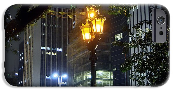 Luz iPhone Cases - Old and New Lamp Posts - Paulista Avenue iPhone Case by Carlos Alkmin