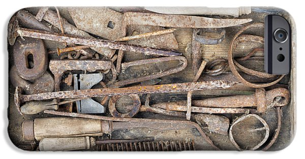 Hand Tool iPhone Cases - Old And Rusty Hand Tool iPhone Case by Michal Boubin