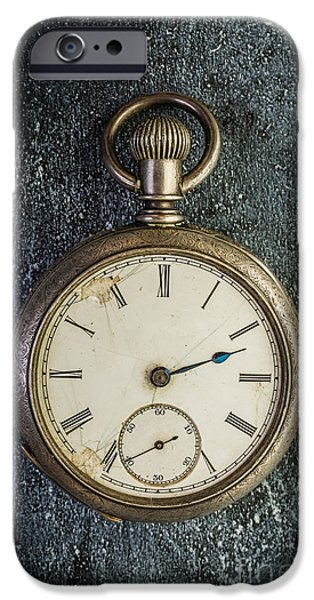 Clock iPhone Cases - Old Antique Pocket Watch iPhone Case by Edward Fielding