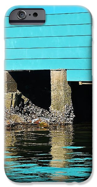 Old Aqua Boat Shed with Aqua Reflections iPhone Case by Kaye Menner