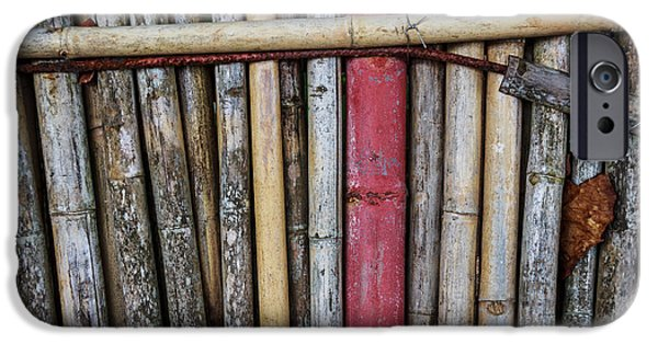 Bamboo Fence iPhone Cases - Old Bamboo Fence iPhone Case by Niphon Chanthana