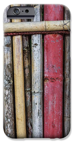 Old Bamboo Fence iPhone Case by Niphon Chanthana